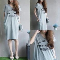 Jual Flavia Store Tshirt Dress Lengan Pendek Fs0366 Abu Abu Misty Gaun Kaos Wanita Baju Terusan Rnsurvived Flavia Store Di Dki Jakarta