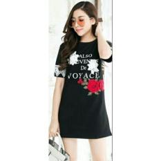 Harga Flavia Store Tshirt Dress Lengan Pendek Motif Bunga Fs0593 Hitam Gaun Kaos Wanita Baju Terusan Rnclory Yang Murah