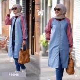 Beli Flavia Store Varsity Panjang Wanita Fs0065 Biru Merah Jaket Bomber Muslimah Luaran Atasan Srzahira