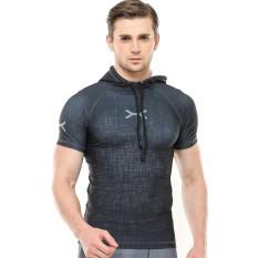 Flex Hoodie Compression Lengan Pendek Fts-015 Gym/fitness/olahraga/ketat/drifit/jogging/selam/renang By Jj Sport Store.