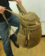 FLONE - Tas Ransel Pria Bahan Kanvas Khaki Vano- Men's Backpack VN01