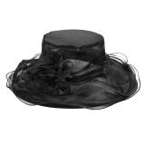 Harga Floral Organza Church Derby Hat Wanita Ladies Summer Tabir Surya Besar Cap Topi Pakaian Ekor Pernikahan Malam Partai Hat Headdress Dengan Bunga Dilepas Hitam Intl Baru