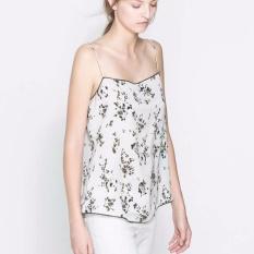 Jual Floral Print Camisole Renda Leher V Tanpa Lengan Silhouette Dengan Disesuaikan Tali Spageti Dari Bahu Atas Internasional Antik