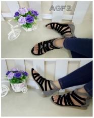 Obral Flower Sepatu Flatshoes Gladiator Wanita Hitam Murah