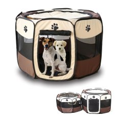 Beli Barang Lipat Fabric Pet Play Pen Dog Cat Puppy Playpen Kennel Run Cage Tenda Pagar Intl Online