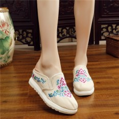 Jual Folk Style Slope With Thick Bottom Cloth Cloth Slippers Embroidered Shoes Canvas 2018 Summer Sandals Shoes A Costume Bag Mail Floral Fashionable Style Traditional Modernized Asian Culture Pure Cotton Lady Women G*rl Canvas Shoes Intl Di Bawah Harga