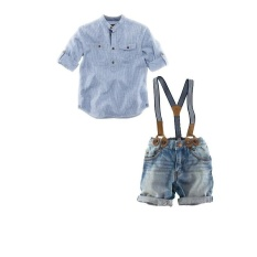 Foreign children burst Summer Boys suits children in the US and Europe shirt Denim Bib a suit on behalf of - intl