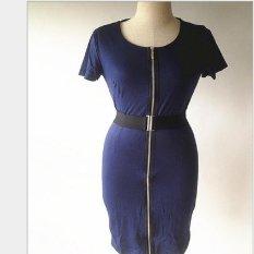 Perdagangan Luar Negeri Full Zipper Sederhana Fashion Murah Hati Warna Solid Kasual Pensil Rok Gaun dengan Sabuk-Intl