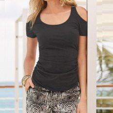 Perdagangan Luar Negeri Di Eropa dan EBay AliExpress Gaya Baru Fashion Sexy Strapless Lengan Pendek T-shirt Kemeja Panjang- INTL