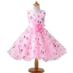 Kidlove Formal Pesta Gaun Indah Bunga Tak Berlengan Pakaian Kostum Anak Wisuda Fluffy Putri Gaun