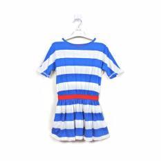 FORTUIN- Baju Dress Anak Salur Biru Putih Katun Lengan Pendek- size anak dan remaja
