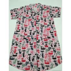 Fortune Fashion Daster Kucing - Pink / Piyama Murah / Piyama Karakter / Baju Santai / Daster Murah / Baju Tidur Wanita