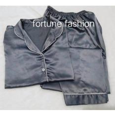 Fortune Fashion Piyama CP Satin - Abu Muda / Piyama Murah / Piyama Karakter / Baju Santai / Daster / Daster Murah / Baju Tidur Wanita