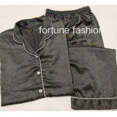 Fortune Fashion Piyama CP Satin - Abu Tua / Piyama Murah / Piyama Karakter / Baju Santai / Daster / Daster Murah / Baju Tidur Wanita