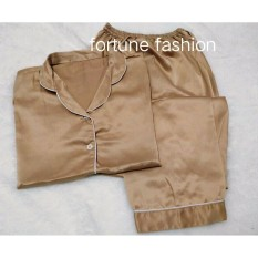 Diskon Fortune Fashion Piyama Cp Satin Coklat Muda Piyama Murah Piyama Karakter Baju Santai Daster Daster Murah Baju Tidur Wanita