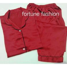 Fortune Fashion Piyama CP Satin - Maroon / Piyama Murah / Piyama Karakter / Baju Santai / Daster / Daster Murah / Baju Tidur Wanita