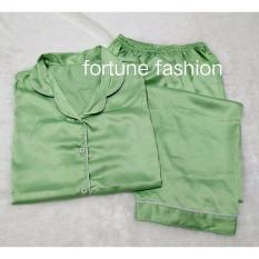 Fortune Fashion Piyama CP Satin - Mint / Piyama Murah / Piyama Karakter / Baju Santai / Daster / Daster Murah / Baju Tidur Wanita