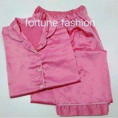 Fortune Fashion Piyama CP Satin - Pink Muda / Piyama Murah / Piyama Karakter / Baju Santai / Daster / Daster Murah / Baju Tidur Wanita