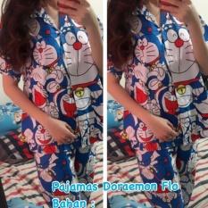 Fortune Fashion Piyama Dora Panjang / Piyama Murah / Piyama Karakter / Baju Santai / Daster / Daster Murah / Baju Tidur Wanita