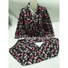 Fortune Fashion Piyama Kucing Lengan Panjang - Hitam / Piyama Murah / Piyama Karakter / Baju Santai / Daster / Daster Murah / Baju Tidur Wanita
