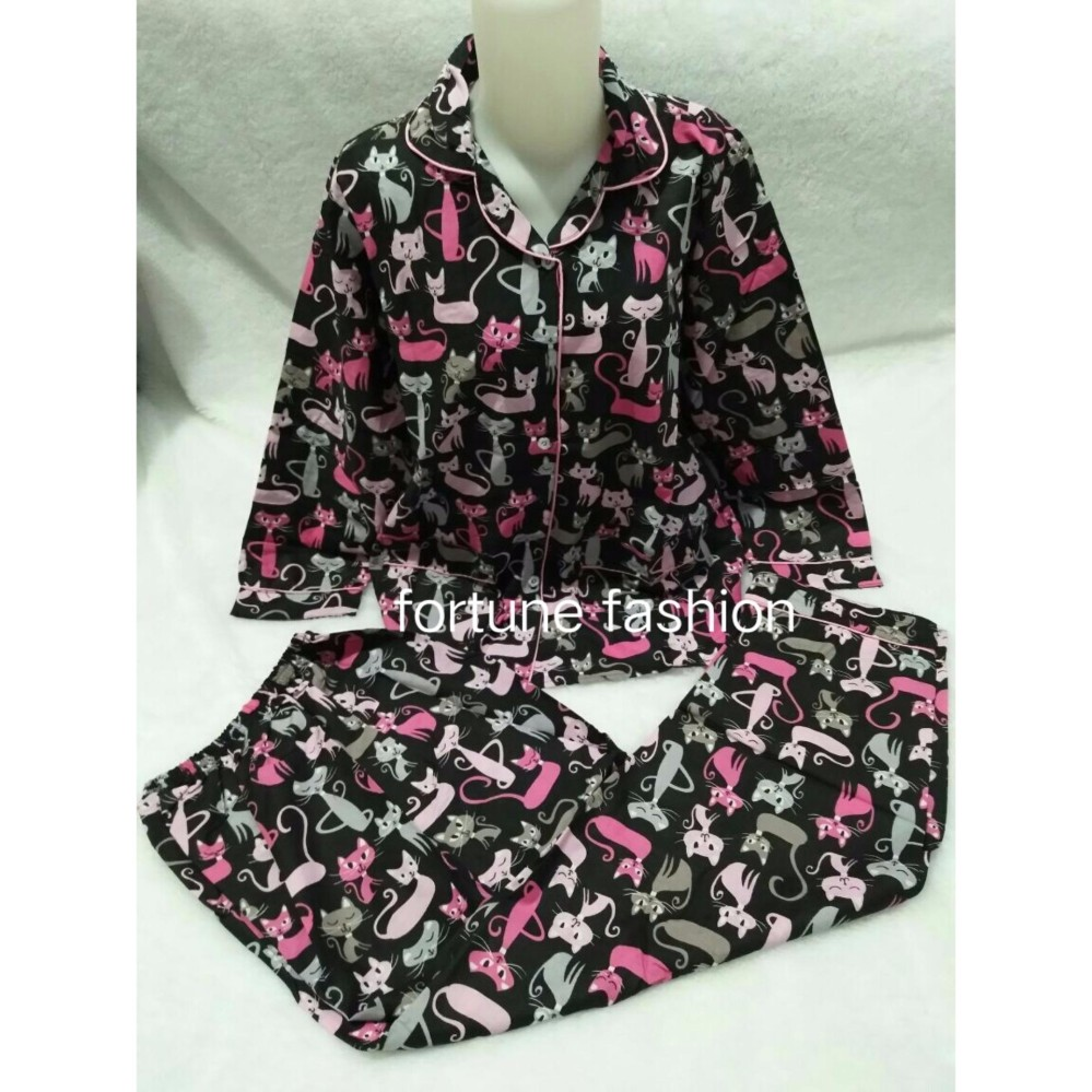Beli Daster Jumbo Lengan Pendek Batik Baju Tidur Piyama Ukuran Busui Friendly Fortune Fashion Kucing Panjang Hitam Murah Karakter