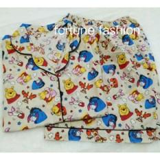 Fortune Fashion Piyama Pooh Tiger Piglet Pendek - Cream / Piyama Murah / Piyama Karakter / Baju Santai / Daster / Daster Murah / Baju Tidur Wanita
