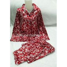 Jual Fortune Fashion Piyama Import Satin Daun Maroon Fortune Fashion Ori