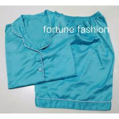 Fortune Fashion Piyama Satin Pendek - Biru Muda / Piyama Murah / Piyama Karakter / Baju Santai / Daster / Daster Murah / Baju Tidur Wanita