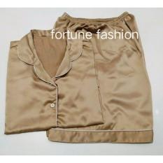 Fortune Fashion Piyama Satin Pendek - Coklat Muda / Piyama Murah / Piyama Karakter / Baju Santai / Daster / Daster Murah / Baju Tidur Wanita