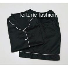 Fortune Fashion Piyama Satin Pendek - Hitam / Piyama Murah / Piyama Karakter / Baju Santai / Daster / Daster Murah / Baju Tidur Wanita