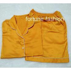 Fortune Fashion Piyama Satin Pendek - Kuning / Piyama Murah / Piyama Karakter / Baju Santai / Daster / Daster Murah / Baju Tidur Wanita