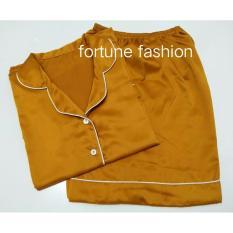 Fortune Fashion Piyama Satin Pendek - Mustard / Piyama Murah / Piyama Karakter / Baju Santai / Daster / Daster Murah / Baju Tidur Wanita