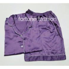 Fortune Fashion Piyama Satin Pendek - Ungu Muda / Piyama Murah / Piyama Karakter / Baju Santai / Daster / Daster Murah / Baju Tidur Wanita