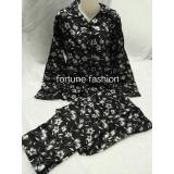 Spek Fortune Fashion Piyama Import Satin Bunga Hitam Fortune Fashion