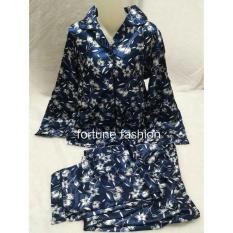 Review Tentang Fortune Fashion Piyama Import Satin Bunga Navy