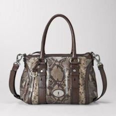 Fossil Maddox Satchel Python with Key - Cokelat