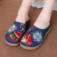 Empat Musim Tua Beijing Bernapas Katun dan Linen Santai Modis Sandal Rumah Tangga, kain Bordir Sepatu Produsen Jual Sepatu Kanvas Wanita-Internasional