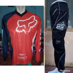Fox Jerset Jersey Celana Trail Cross Murah Merah4 Original