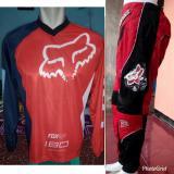 Harga Fox Jersey Celana Setelan Sepeda Trail Cross Promo Murah Merah Satu Set