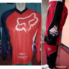 Jual Beli Online Fox Jersey Merah Celana Merah Setelan Sepeda Trail Cross Promo Murah