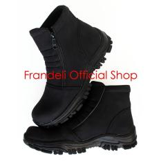 Frandeli Elastico Work Shoes Safety Zipper Boots Sepatu Pria - Black