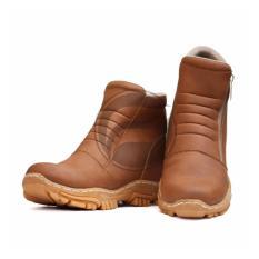Frandeli Elastico Work Shoes Safety Zipper Boots Sepatu Pria - Tan