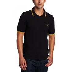 FRED PERRY Mens Twin Tipped POLO Shirt-M3600, Hitam/Kuning/Kuning,-Intl