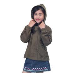 Free Ongkir Distro Premium - Jaket hoodie anak perempuan olive murah asli BKL