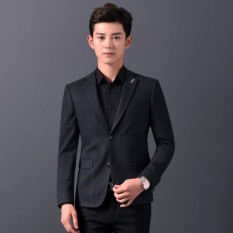 Pengiriman Gratis Pria Kasual Suit Mantel Kotak-kotak Bisnis Suit Pernikahan Sesuai Pengantin Lelaki Setelan Jaket-Intl