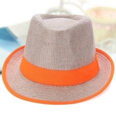 Fashion Pria Wanita Topi Fedora Panama Topi Jerami Topi Pantai Matahari Trilby Jazz Warna Permen Freebang Original