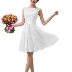 Harga Freebang Wanita Lace Tanpa Lengan Pesta Putri Pernikahan Formal Ekor Dress Yg Bagus