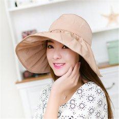 Spesifikasi Freebang Wanita Besar Wide Brim Hat Summer Uv Sun Beach Lipat Roll Up Visor Cap Intl Dan Harganya