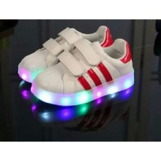 Freeshop Daldas Sepatu Anak Motif Stripe Dengan Lampu LED Shoes - Red