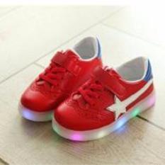 Jual Beli Freeshop Daldas Kids Unisex Stripe Star Led Sneakers Flashing Shoes S330 Red Indonesia